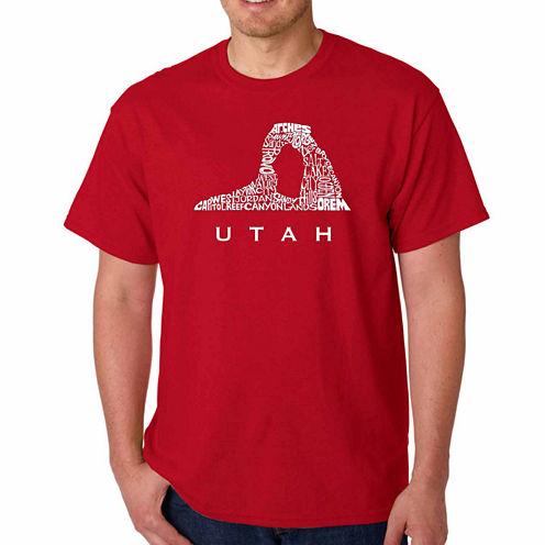 Los Angeles Pop Art Utah Short Sleeve Crew Neck T-Shirt-Big And Tall