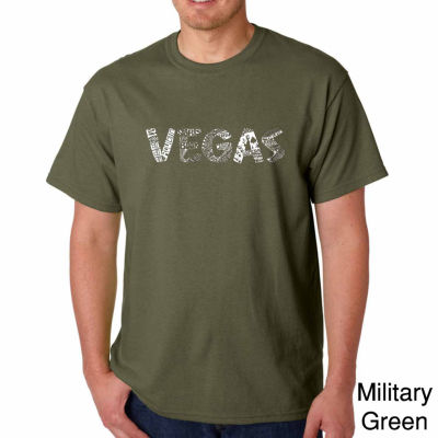 Los Angeles Pop Art Vegas Short Sleeve Word Art T-Shirt-Men's Big and Tall