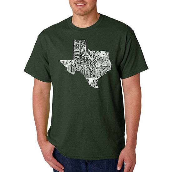 Los Angeles Pop Art the Great State of Texas ShortSleeve Word Art T-Shirt - Big and Tall