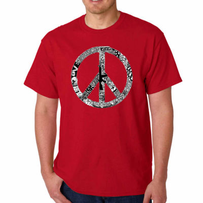 Los Angeles Pop Art Peace Love & Music Short Sleeve Word Art T-Shirt - Big and Tall