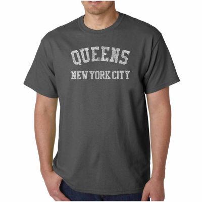 Los Angeles Pop Art Popular Neighborhoods in Queens NY Short Sleeve Word Art T-Shirt - Big and Tall