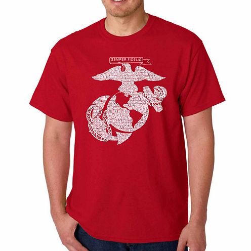 "Los Angeles Pop Art ""Lyrics to the Marine Hymn"" Crew Neck T-Shirt-Big and Tall"