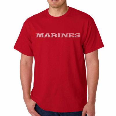 "Los Angeles Pop Art ""Lyrics to the Marine Hymn"" Word Art T-Shirt- Men's Big and Tall"""