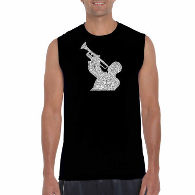 Los Angeles Pop Art Men's All Time Jazz Songs Sleeveless T-Shirt - Big and Tall
