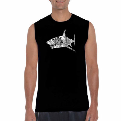 Los Angeles Pop Art Men's Species of Shark Sleeveless T-Shirt - Big and Tall