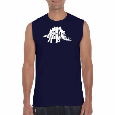Los Angeles Pop Art Men's Stegosaurus Sleeveless T-Shirt - Big and Tall