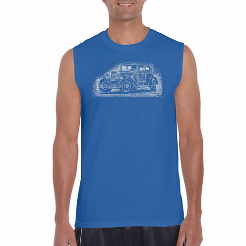 Los Angeles Pop Art Sleeveless Crew Neck T-Shirt-Big and Tall