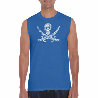 Los Angeles Pop Art Pirate Captains Sleeveless Word Art T-Shirt- Men's Big and Tall