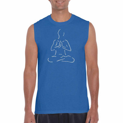 Los Angeles Pop Art Popular Yoga Posses SleevelessWord Art T-Shirt- Men's Big and Tall