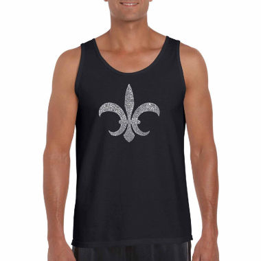 Los Angeles Pop Art Fleur De Lis Louisiana CitiesWord Art Tank Top- Men's Big and Tall