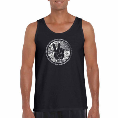 "Los Angeles Pop Art ""Make Love Not War"" Word Art Tank Top- Men's Big and Tall"""