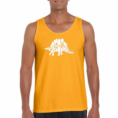 "Los Angeles Pop Art ""Stegosaurus"" Word Art Tank Top- Men's Big and Tall"""