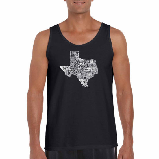 "Los Angeles Pop Art ""The Great State Of Texas"" Word Art Tank Top- Men's Big and Tall"""