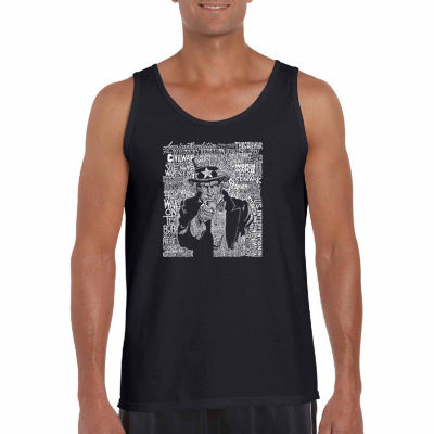 "Los Angeles Pop Art ""Unclesam"" Word Art Tank Top-Men's Big and Tall"""