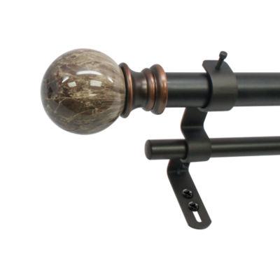 """Decapolitan Marble Ball 1"""" Double Curtain Rod"""