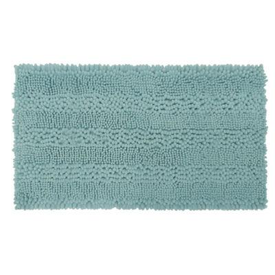 Laura Ashley Astor Striped Plush Chenille Bath Rug Collection