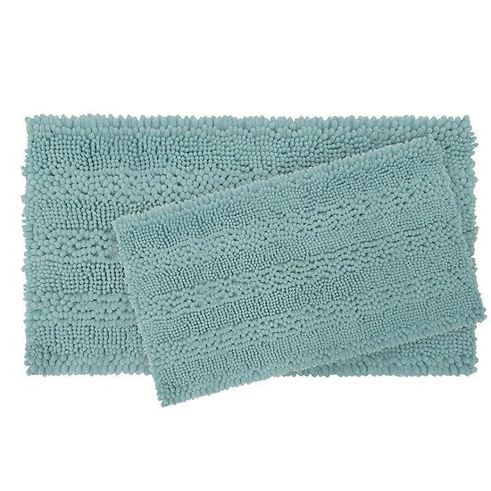Laura Ashley Astor Striped Plush Chenille 20x34 2pc. Bath Mat Set