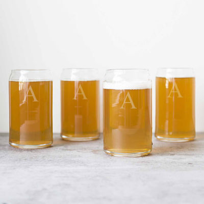 Cathy's Concepts Set of 4 Personalized Craft Beer Can Glasses