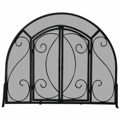 Single Panel Wrought Iron Arch Fireplace Screen