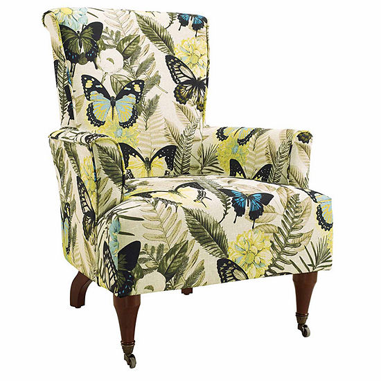 Junnell Botanical Fabric Wingback Chair