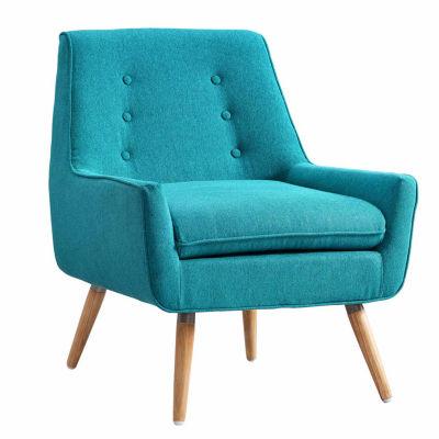 Trelis Blue Tufted Fabric Club Chair