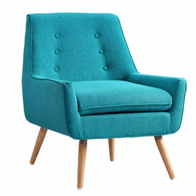 Trelis Blue Tufted Fabric Club Chair