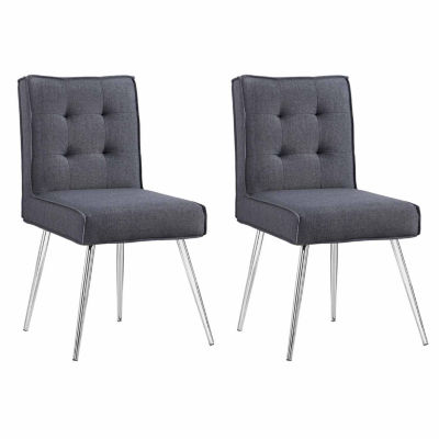 Charmant Astra Gray 2 Pc. Tufted Fabric Slipper Chair