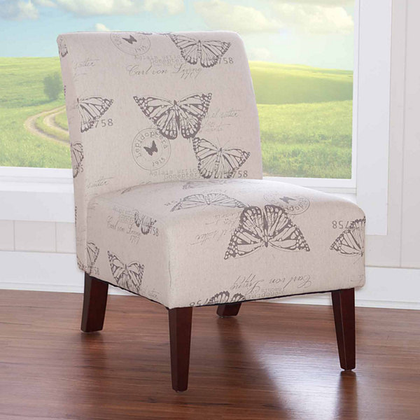 Lily Butterfly Fabric Slipper Chair
