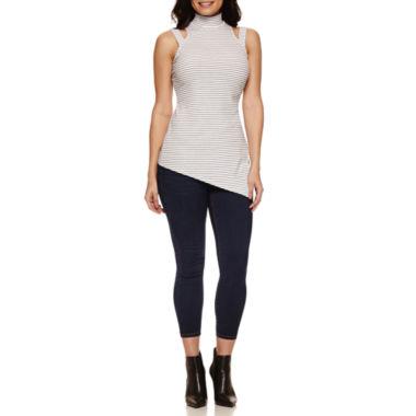 jcpenney.com | Bisou Bisou Mock Neck Assymetrical Top or Stack Waist Skinny Jeans