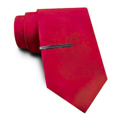 JF J. Ferrar® Solid Satin Tie and Tie Bar Set - Extra Long