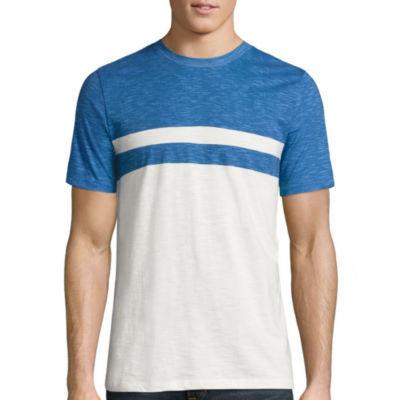 Arizona Short Sleeve Crew Neck Chest Stripe T-Shirt