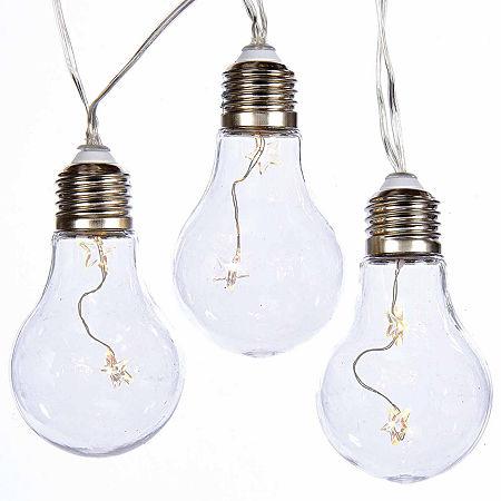 Kurt Adler Battery-Operated: Edison Bulb Warm White LED Fairy Light Set. One Size . White