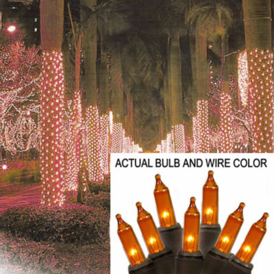 2' x 8' Yellow-Gold Mini Christmas Net Style TreeTrunk Wrap Lights - Brown Wire
