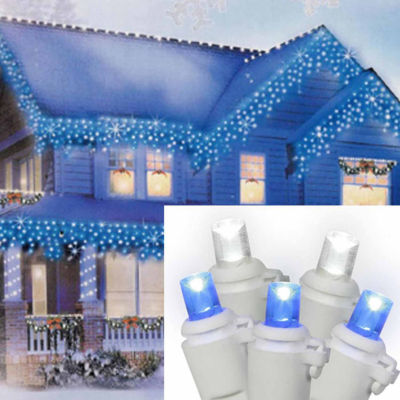 Set of 70 Pure White and Blue LED Icicle ChristmasLights - White Wire