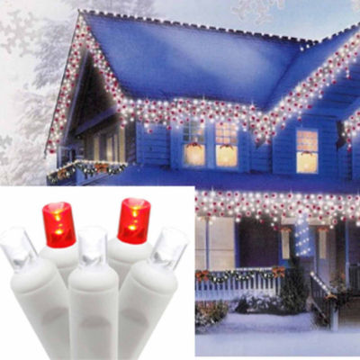 Set of 70 Pure White and Red LED Icicle ChristmasLights - White Wire