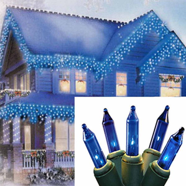 set of 100 blue mini icicle christmas lights green wire