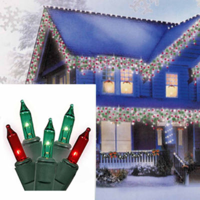 Set of 100 Red and Green Mini Icicle Christmas Lights - White Wire
