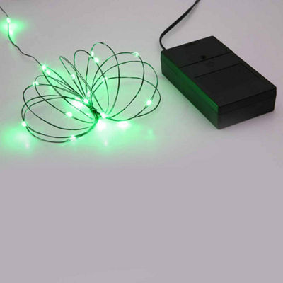 Battery Operated Multi Function Ultra Slim Wire Christmas Light Set - 24 Green LED Lights