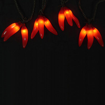 Set of 36 Red Chili Pepper Cluster Christmas Lights - Brown Wire