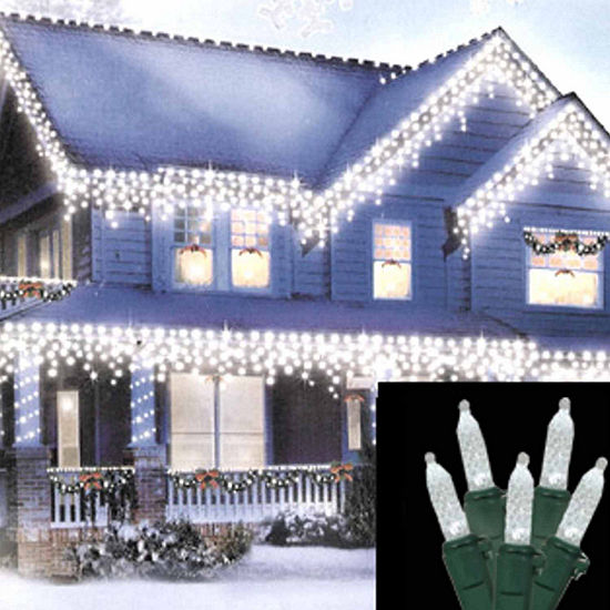 Set of 70 Pure White LED M5 Mini Icicle Christmas Lights - Green Wire