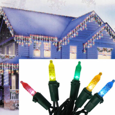 Set of 70 Multi-Color LED M5 Icicle Christmas Lights - Green Wire