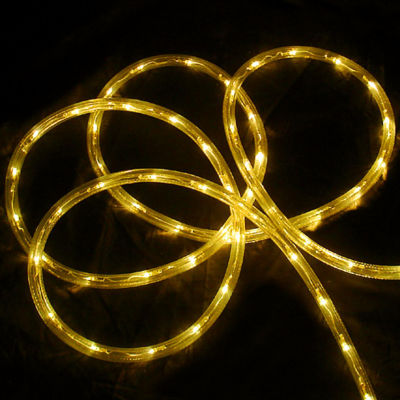 """18' Yellow LED Indoor/Outdoor Christmas Rope Lights - 2"""" Bulb Spacing"""""""