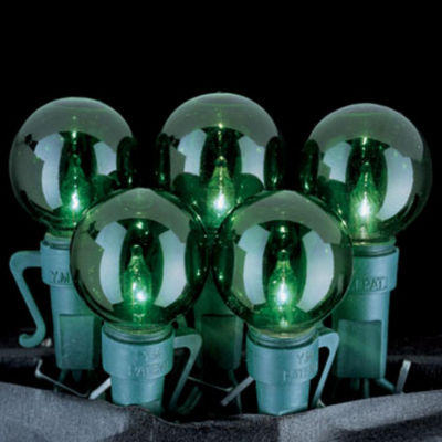 Set of 35 Green G25 Christmas Lights With Green Wire #723404