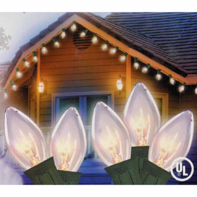 Set of 25 Transparent Clear C9 Christmas Lights -Green Wire