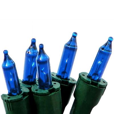 Set of 50 Blue Perm-O-Snap Mini Christmas Lights -Green Wire