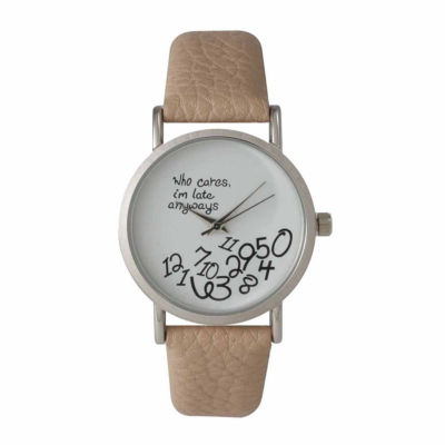 Olivia Pratt Womens Brown Strap Watch-15189beige