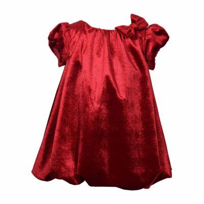 Bonnie Jean Holiday Short Sleeve Velvet Bubble Dress - Baby Girl