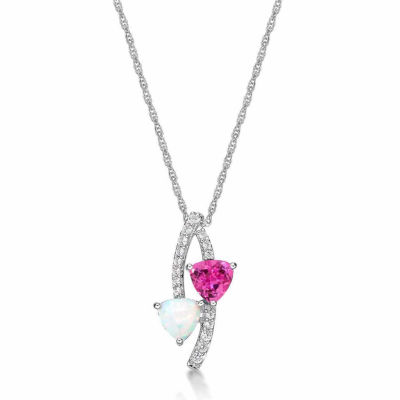 Lab-Created Opal and Pink & White Lab-Created Sapphire Sterling Silver Pendant Necklace