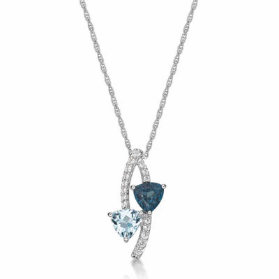 Womens Blue Topaz Sterling Silver Pendant Necklace