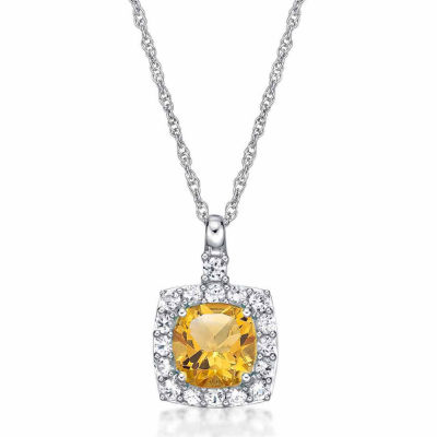 Womens Genuine Citrine & Lab-Created White Sapphire Sterling Silver Pendant Necklace